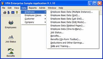 Sample Application Data Menu